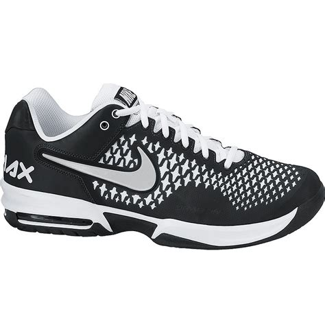 nike air max cage s tennis shoe black white silver