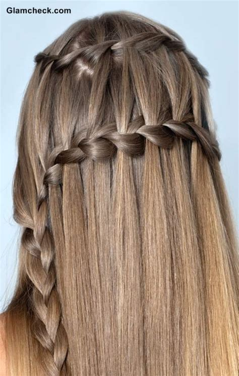 double waterfall braid hairstyle