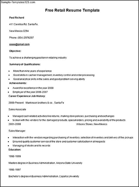 resume templates retail free sle retail resume template sle templates