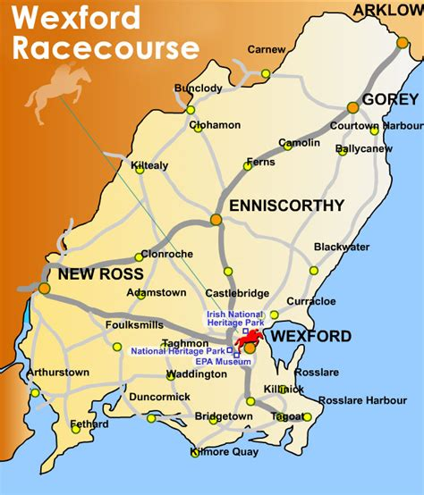 map of wexford location preferred routes wexford racecourse