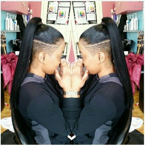 cute sew in hairstyles for shaved sides clean ponytail with both sides and under shaved punkymo