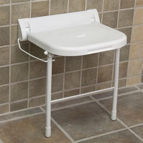 large wall mount folding shower seat with legs ada