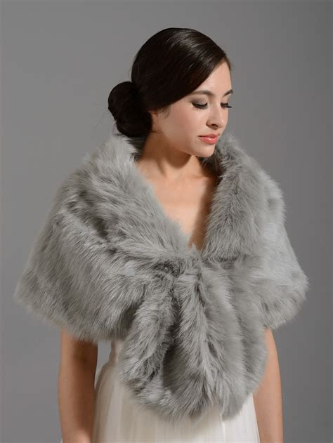 Faux Fur by Faux Fur Wrap A001 Silver