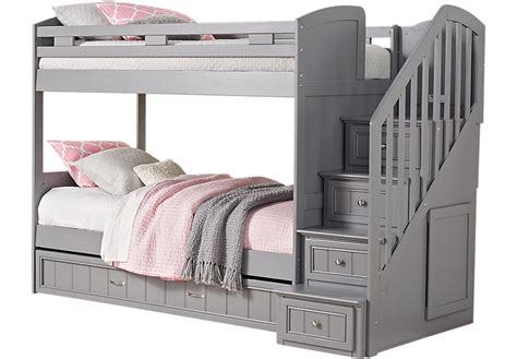 gray bunk beds cottage colors gray twin full step bunk bed with trundle