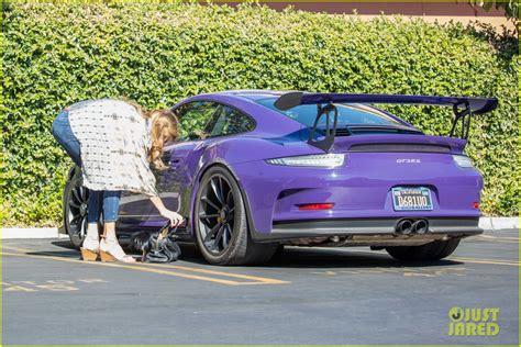 purple porsche caitlyn jenner runs some errands in purple porsche