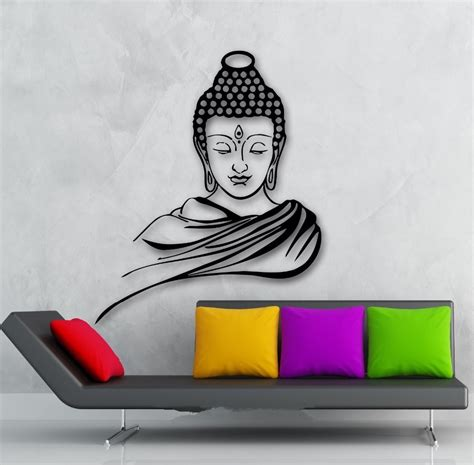 buddha wall decal cute vinyl sticker home arts wall decals 3d poster classic religion buddhism buddha meditation wall