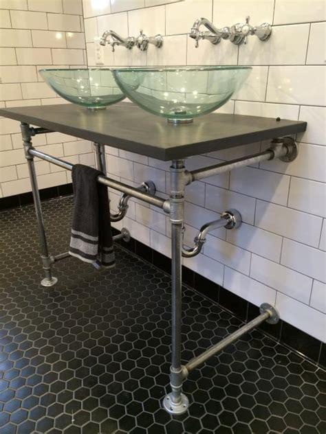 industrial bathroom vanities bathroom with subway tile and industrial vanity photos diy