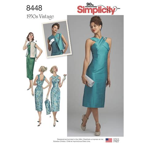 Premium Dress 8448 pattern 8448 misses vintage dress with lined or unlined