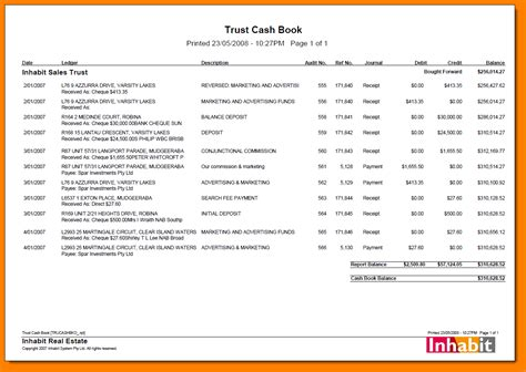 8 Trust Account Ledger Template Ledger Review Real Estate Review Template