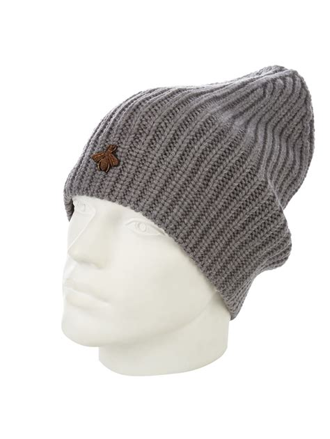 gucci knit hat gucci ribbed knit hat in gray for lyst