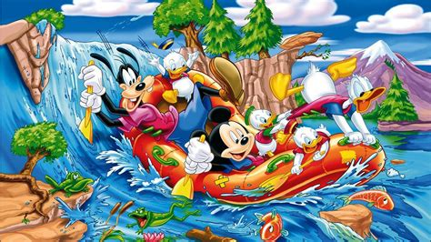 mickey mouse donald duck  gofy sailing   river
