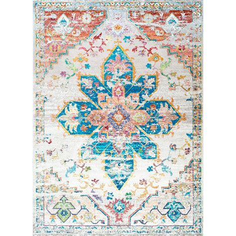 nuloom terrell floral medallion ivory 4 ft x 6 ft area