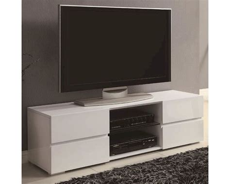 coaster high gloss white tv stand w glass shelf co 700825