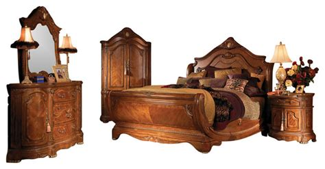 victorian bedroom set 5 piece cortina king size sleigh bedroom set honey walnut