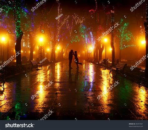 light for walking at night couple walking alley night lights stock photo 40497901