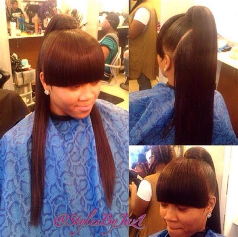 sew in with bangs hairstyles 33 best bangs and ponytail weave images on pinterest
