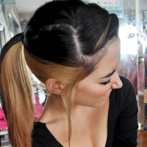 hairstyle dark on top light on bottom two tone hair color dark on top light on bottom hair