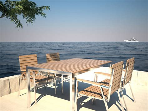 Chaise Exterieur Design 331 by Table De Jardin Design Danois En Teck Et Acier Inoxydable