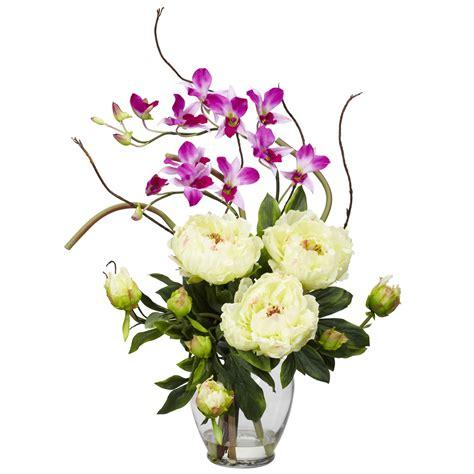 decor floral arrangements peony and orchid silk flower arrangement