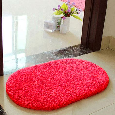 Bathroom Area Rugs Anti Skid Fluffy Shaggy Area Rug Bedroom Bathroom Floor Door Mat 5color Ebay