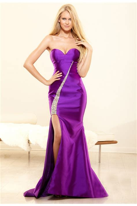 Fitted Mermaid Sweetheart Purple Satin Beaded Evening Prom Dress High Slit