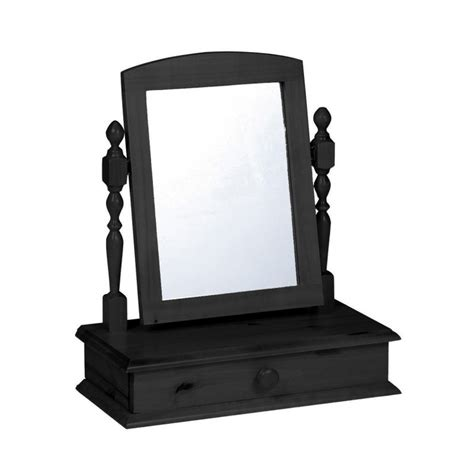 dressing table mirror with drawer in antique graphite or