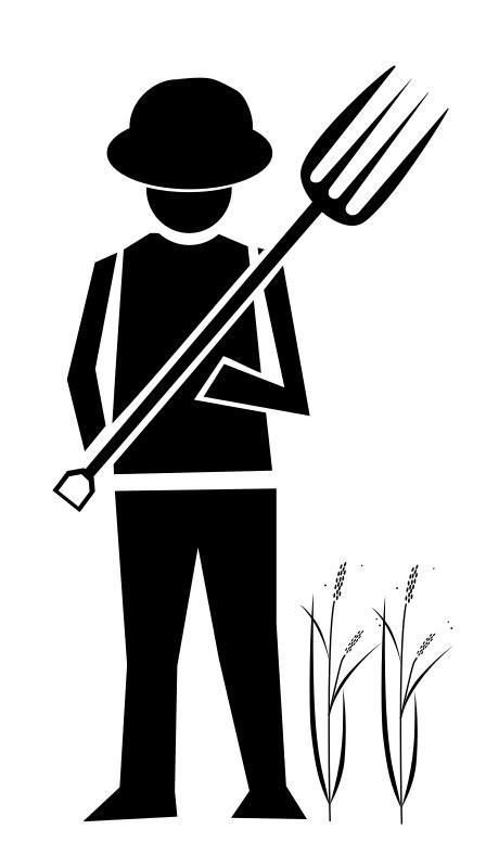 Clipart - farmer with garden fork Microsoft Garden Clipart