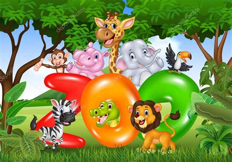 imagenes de animales de zoologico animados parque zool 243 gico de palabra con dibujos animados de
