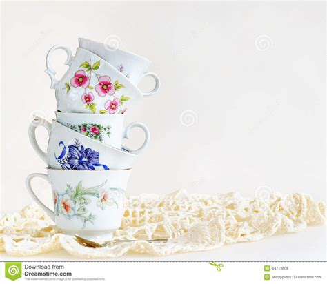 Stack Of Vintage Tea Cups Stock Photo   Image: 44713608