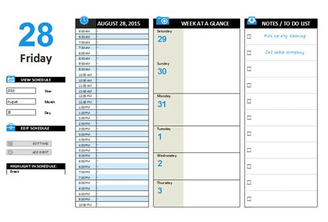 daily planner template word 2007 daily planner template