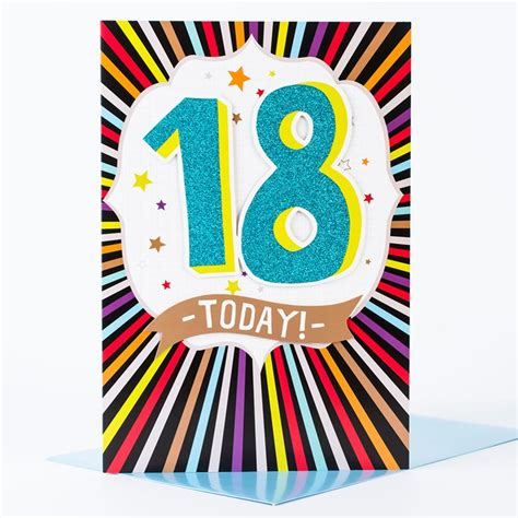 Birthday Card For 18 Year Giant 18th Birthday Card Glittery 18 Today Only 99p