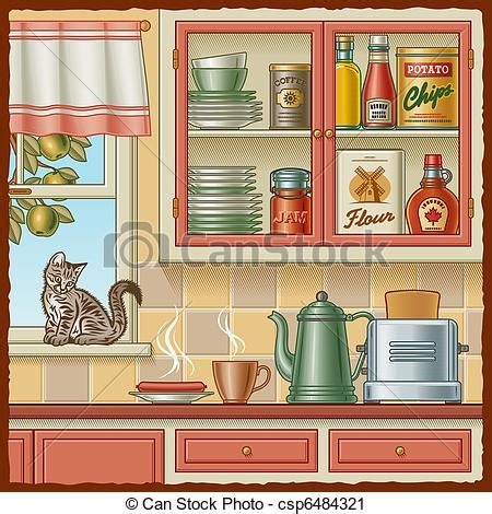 Kitchen Pantry Cabinet Plans Free vector clip art of retro kitchen with various foods and a