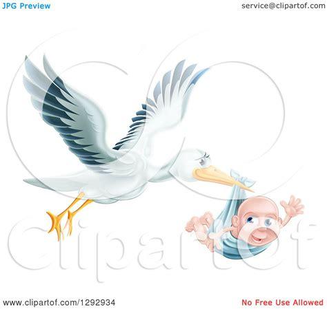clipart   flying stork bird holding  happy baby boy