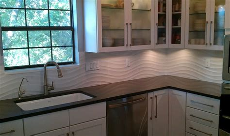 kitchen backsplash white wave panel tile contemporary