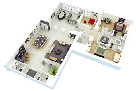 3d house plan 25 more 3 bedroom 3d floor plans