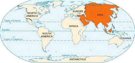 location of asia in world map asia location encyclopedia children s homework