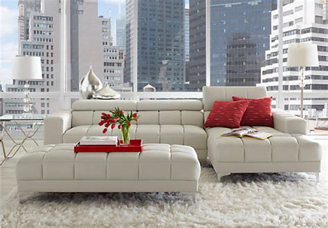 Sybella Sectional by Sofia Vergara Sybella White 3 Pc Sectional Living Room Living Room Sets
