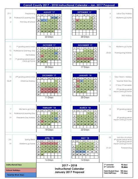 Carroll County Schools Calendar Board Of Education To Review Proposed Calendars Carroll