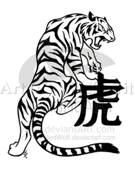 tatto artist tribal chinese tiger art design for body