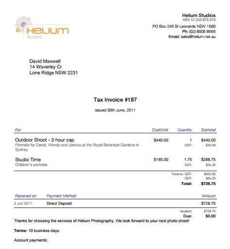 photography invoice sle 7 documents in pdf word