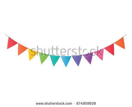 Banner Segitiga Happy Birthday vector decorative pennants celebrate flags stock