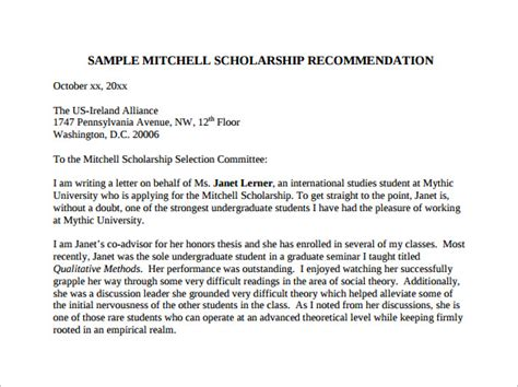 Letter Of Recommendation For Undergraduate Scholarship search results for letter of recommendation for student