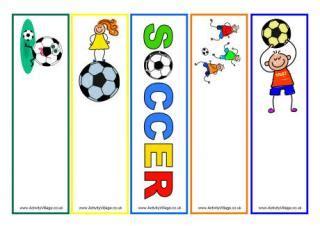 printable bookmarks activity village football printables