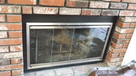 custom made satin nickel finished fireplace glass