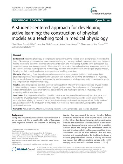 Active Learning Research Papers by A Student Centered Approach For Developing Active Learning The Construction Of Physical Models