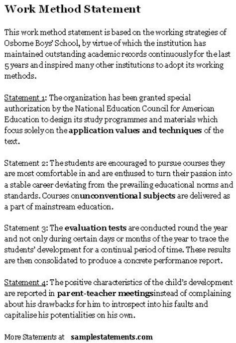 work method statement sle statements