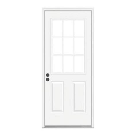 32x78 Exterior Door Jeld Wen 32 In X 78 In 9 Lite Primed Premium Steel Prehung Front Door With Brickmould