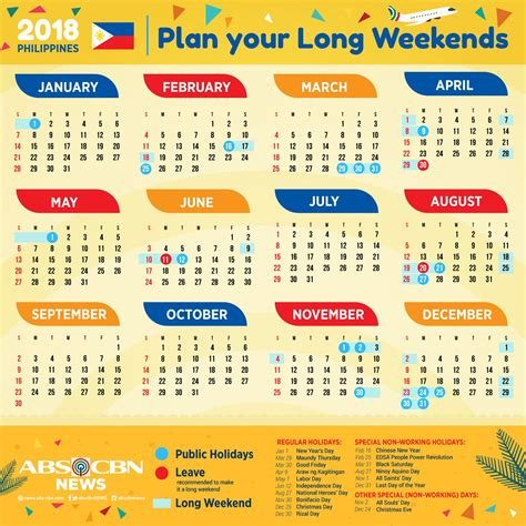 Calendar With Holidays For 2018 Your 2018 Holidays And Weekends Calendar Abs Cbn News