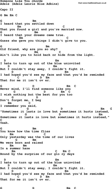 Someone Like You Lyrics And Guitar Chords