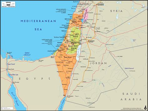 map of isreal israel wall map maps